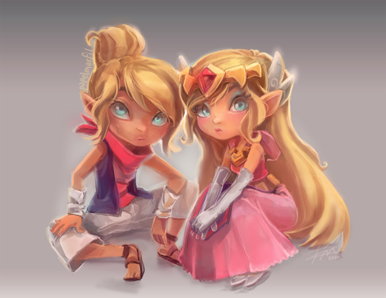 The Legend of Zelda - Zelda and Tetra by papelmarfil