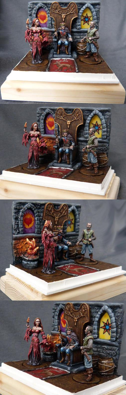 Diorama: Stannis Baratheon, Davos, Melisandre by DaOldHorse