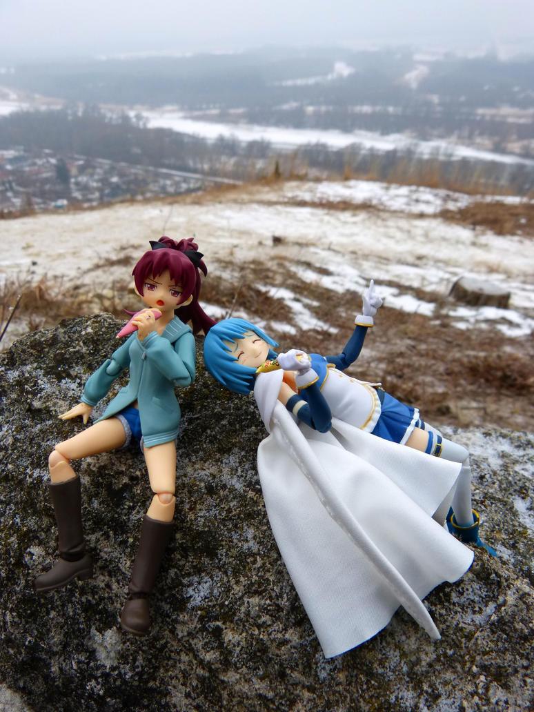 Kyoko Sakura and Sayaka Miki relaxing on hills by DaOldHorse