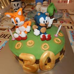 Sonic + Tails birthday cake