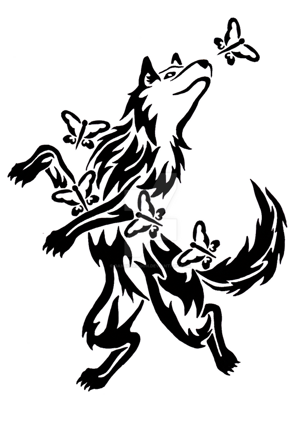 tribal wolf paw drawing