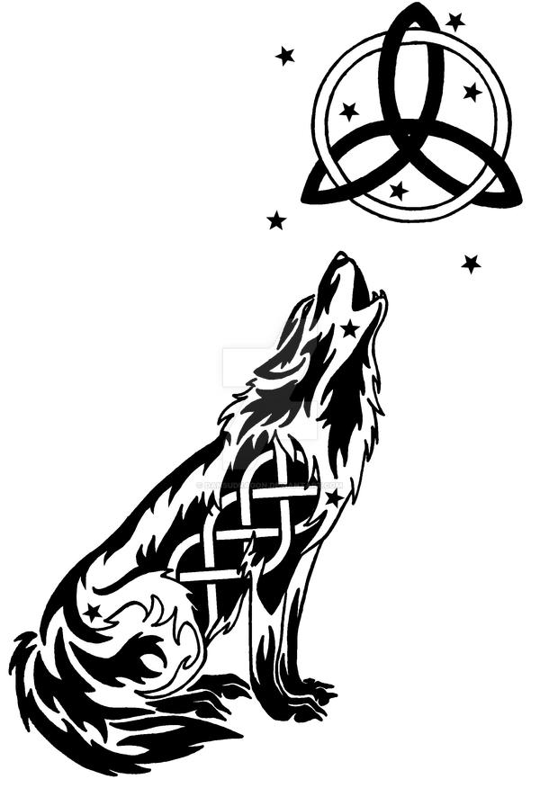 starry celtic wolf and moon tattoo by dansudragon on deviantart. Black Bedroom Furniture Sets. Home Design Ideas