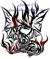 Tribal Flaming Dragon Tattoo Commission by DansuDragon