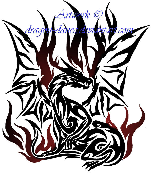 Tribal flaming dragon tattoo commission by dansudragon on for Dragon fire tattoos
