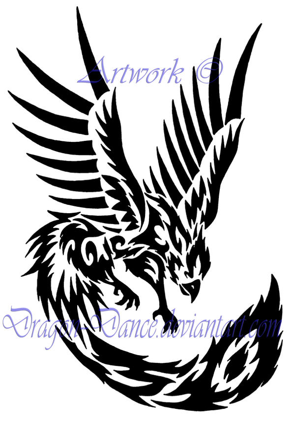tribal phoenix tattoo by dansudragon on deviantart. Black Bedroom Furniture Sets. Home Design Ideas