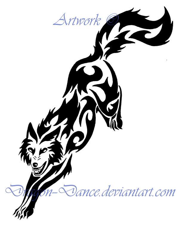 Fierce Tribal Leaping Wolf Tattoo by DansuDragon