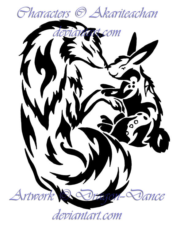 AT: Tribal Yin and Yang Wolf and Rabbit by DansuDragon