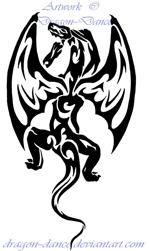 Tribal Climbing Dragon Tattoo Commission by DansuDragon