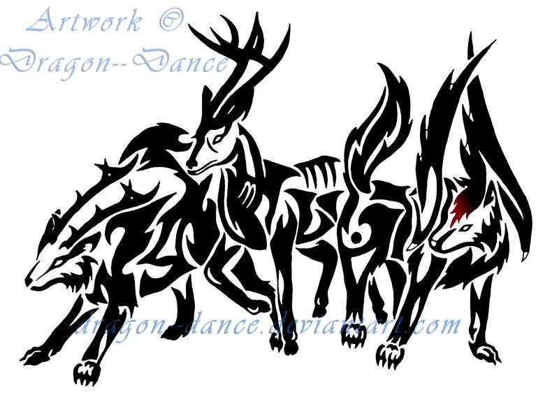 Tribal Deer and Wolves Commission by DansuDragon