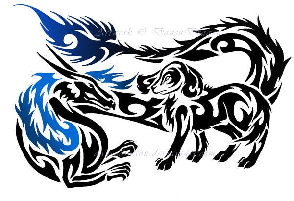 Tribal Dragon + English Spaniel Tattoo Commission by ...