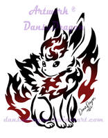 Tribal Sitting Flareon Commission by DansuDragon