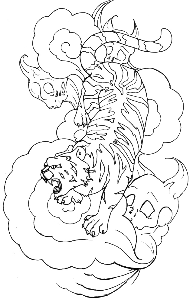 Japanese Tattoo Line Drawing : Japanese tiger tattoo by supersibataru on deviantart