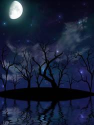 Direwolf on the night sky