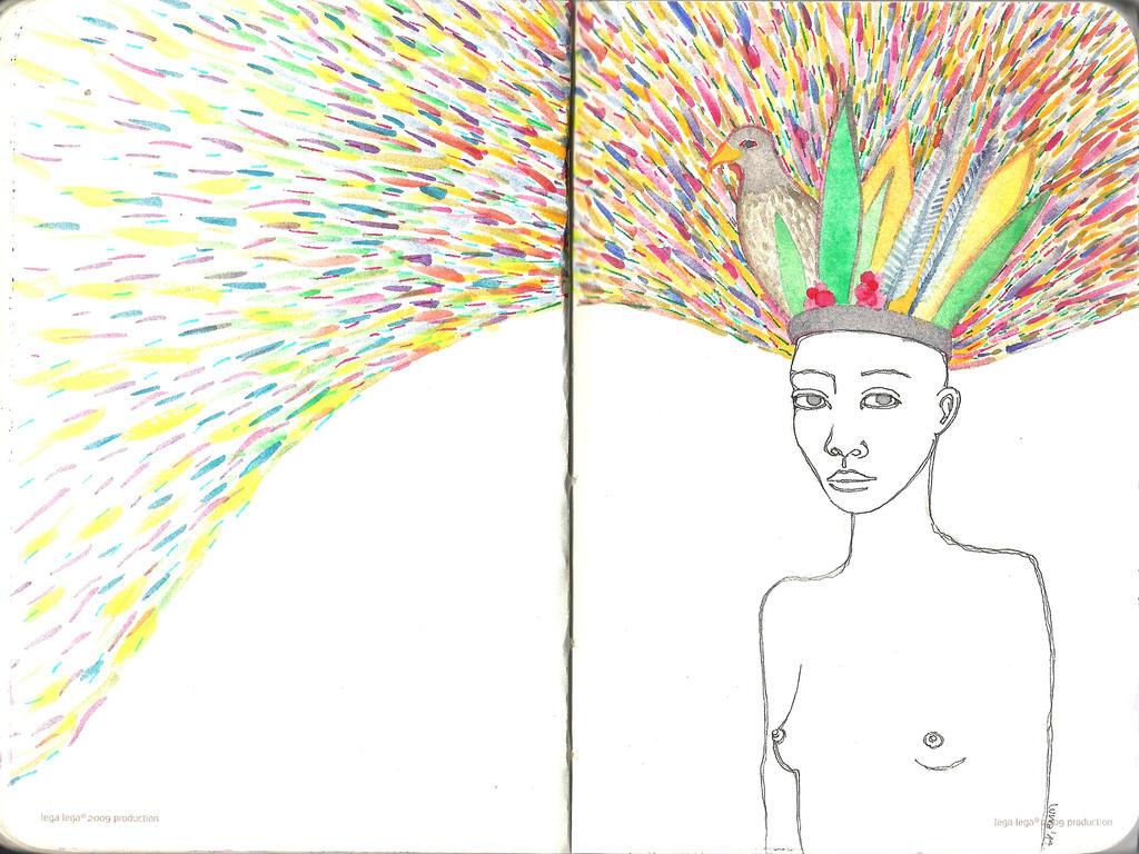 zena s pticom na glavi by Mjesec
