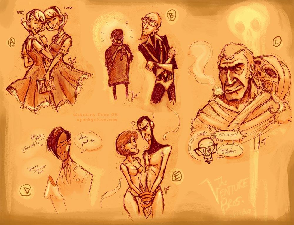 venture bros season 3 sketches by SpookyChan