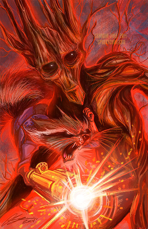 Guardians of the Galaxy: Groot and Rocket by SpookyChan