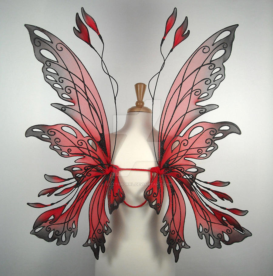 Posie fairy wings in red by glittrrgrrl