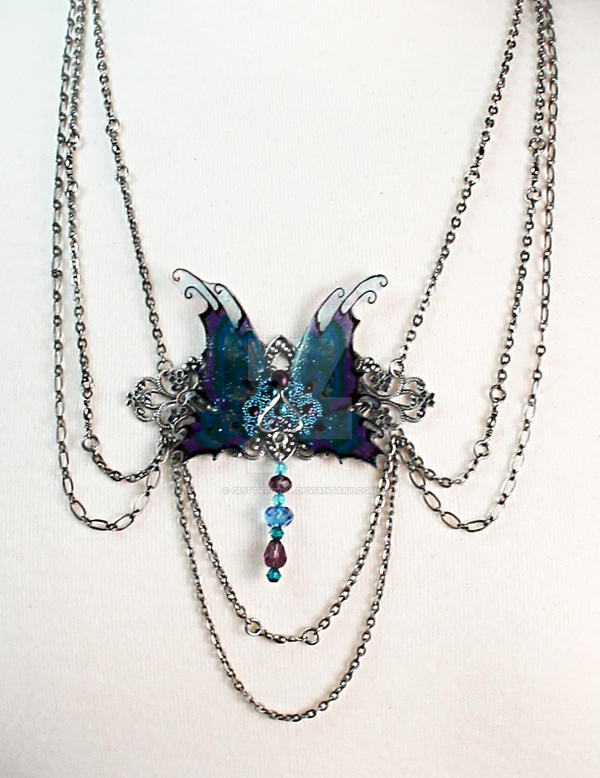 Peacock Fairy Wings Necklace (Closeup) by glittrrgrrl