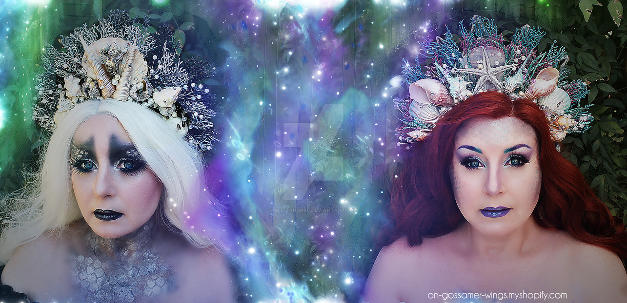 Unseelie/Seelie Mermaid Crowns by glittrrgrrl