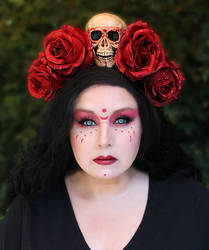 Red Rose and Skull Headpiece