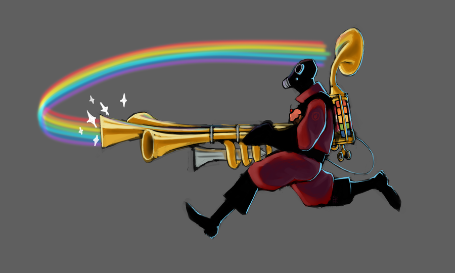 TF2 - Pyro and his Rainblower by SuperKusoKao