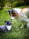 Foxes Meeting in the Meadow (poseable art doll fox