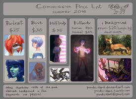commisson price list