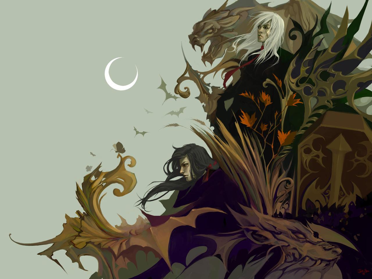 Gaian Vampires Halloween WP by JenZee