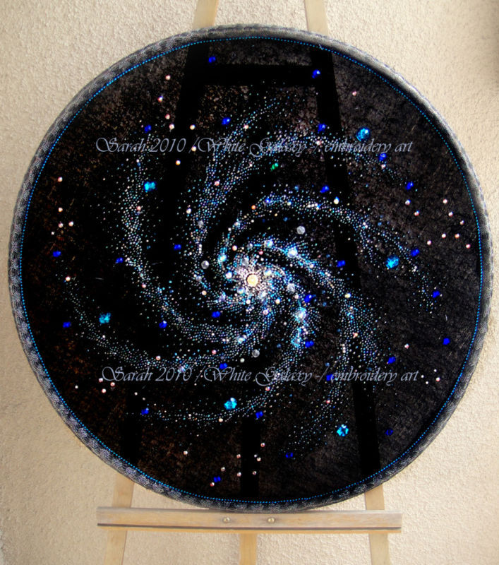 Space art crystal galaxy beadwork embroidery by for Space embroidery patterns