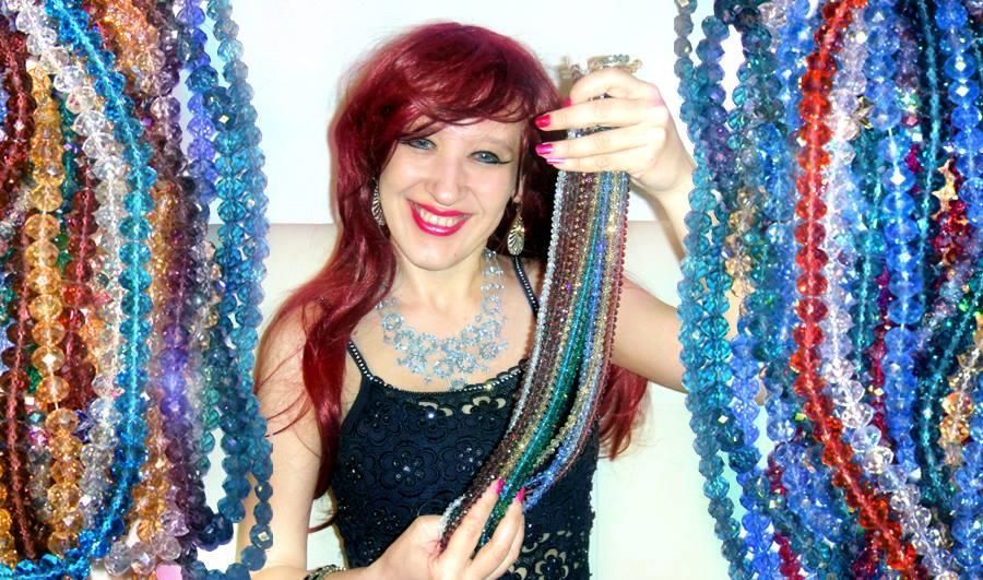 Sparkling beauty Ameynra jewelry bead art by Sofia by SOFIAMETALQUEEN