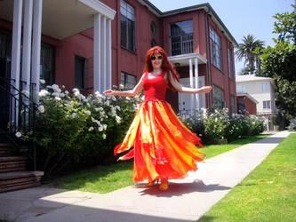 Ameynra fashion. Fire color skirt. Sofia Goldberg by SOFIAMETALQUEEN