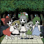 Reimu, Marisa, Sakuya, Youmu, and Sanae