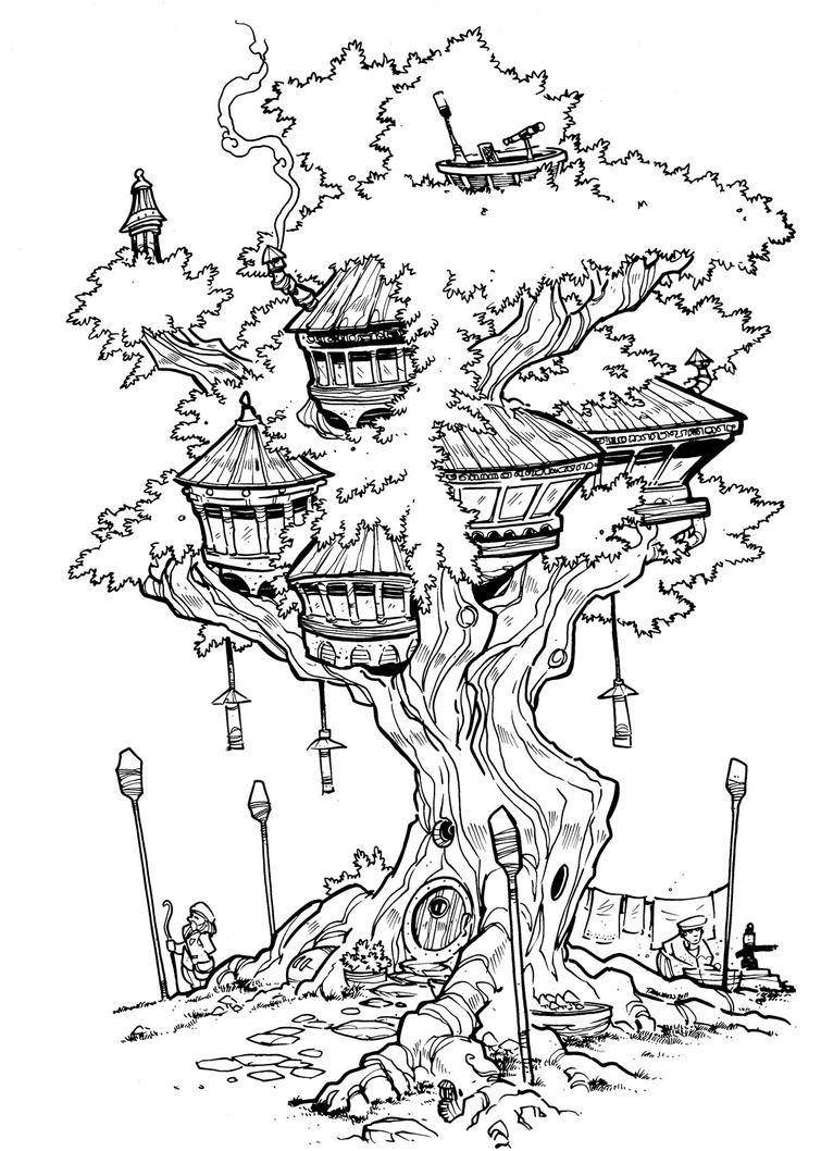 The treehouse inks by travisjhanson on deviantart for Free magic tree house coloring pages