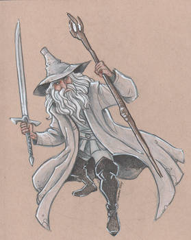 Gandalf the Grey (wearing grey)