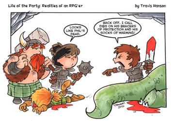 Dibs on the dead guys armor - RPG Comic by travisJhanson