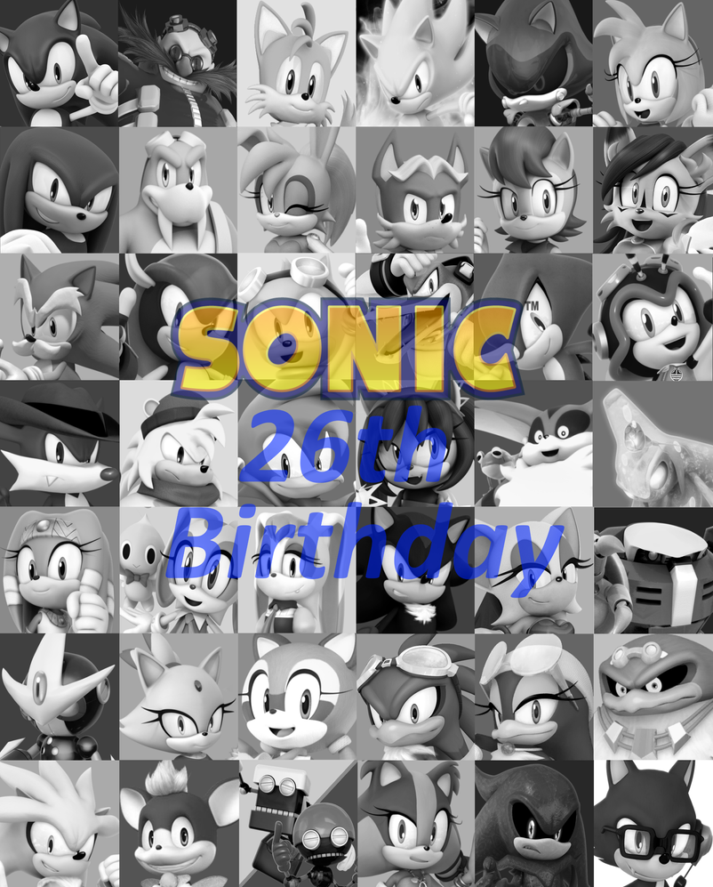 00 Sonic Icon list Black and white 26thbirthday by FrostTheHobidon