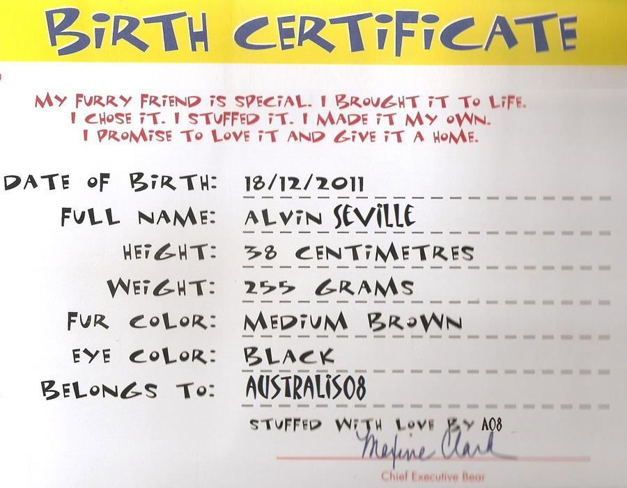 Alvin 39 s build a bear birth certificate by qalaxybutt on for Build a bear certificate template