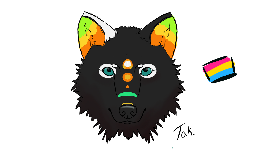 Pansexual headshot by Tak. by CalicoWoolfe