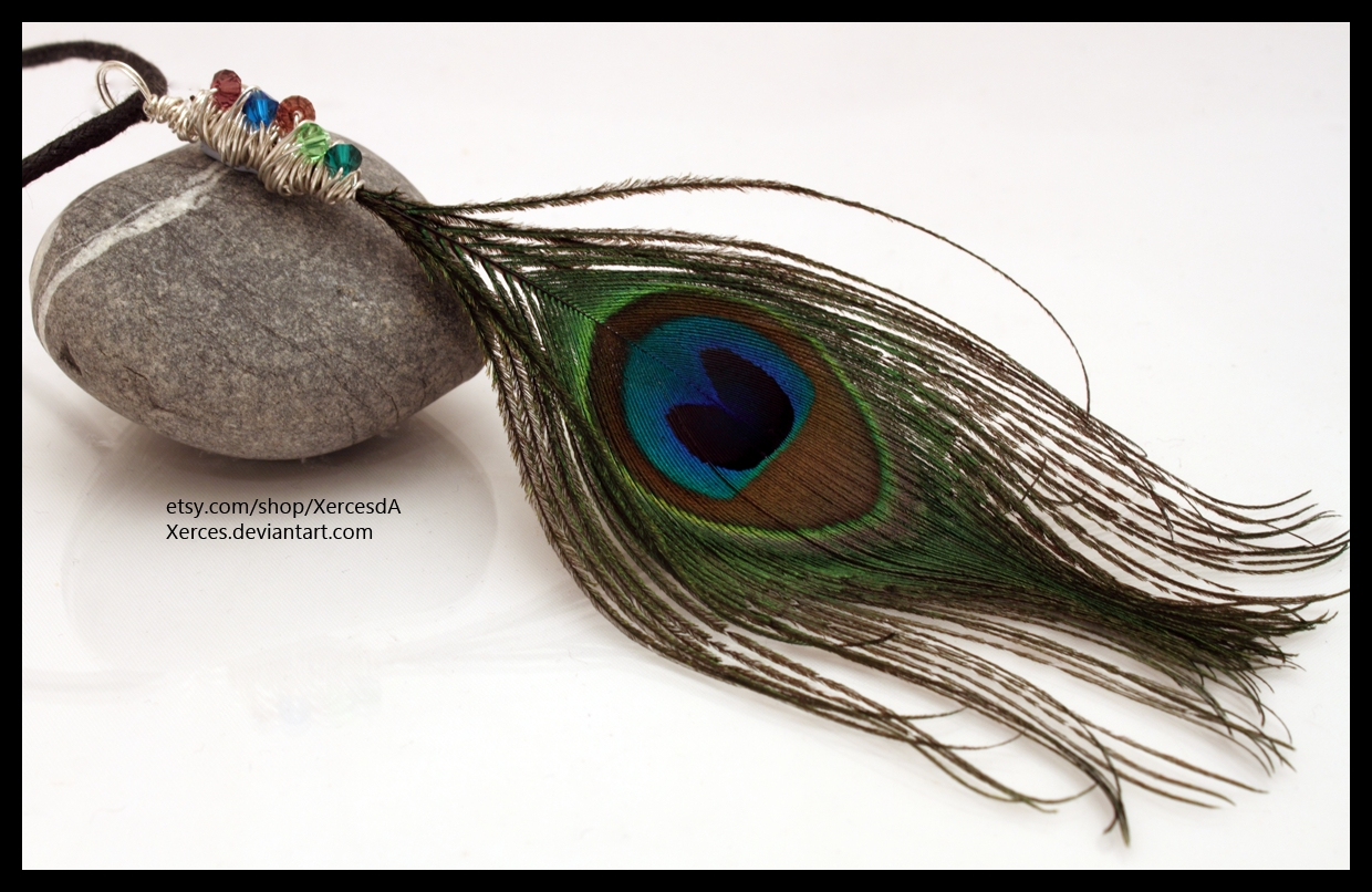 Peacock feather necklace by Xerces