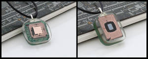 Exposed computer chip pendants