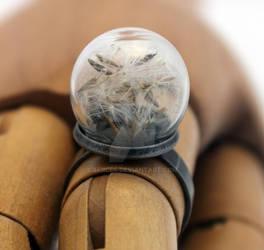 Make a wish dandelion glass dome ring