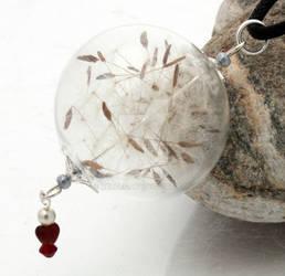 Valentines dandelion glass orb pendant