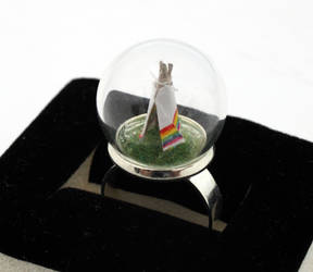 Little tiny rainbow teepee ring
