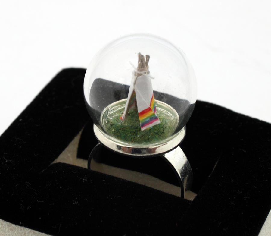 Little tiny rainbow teepee ring