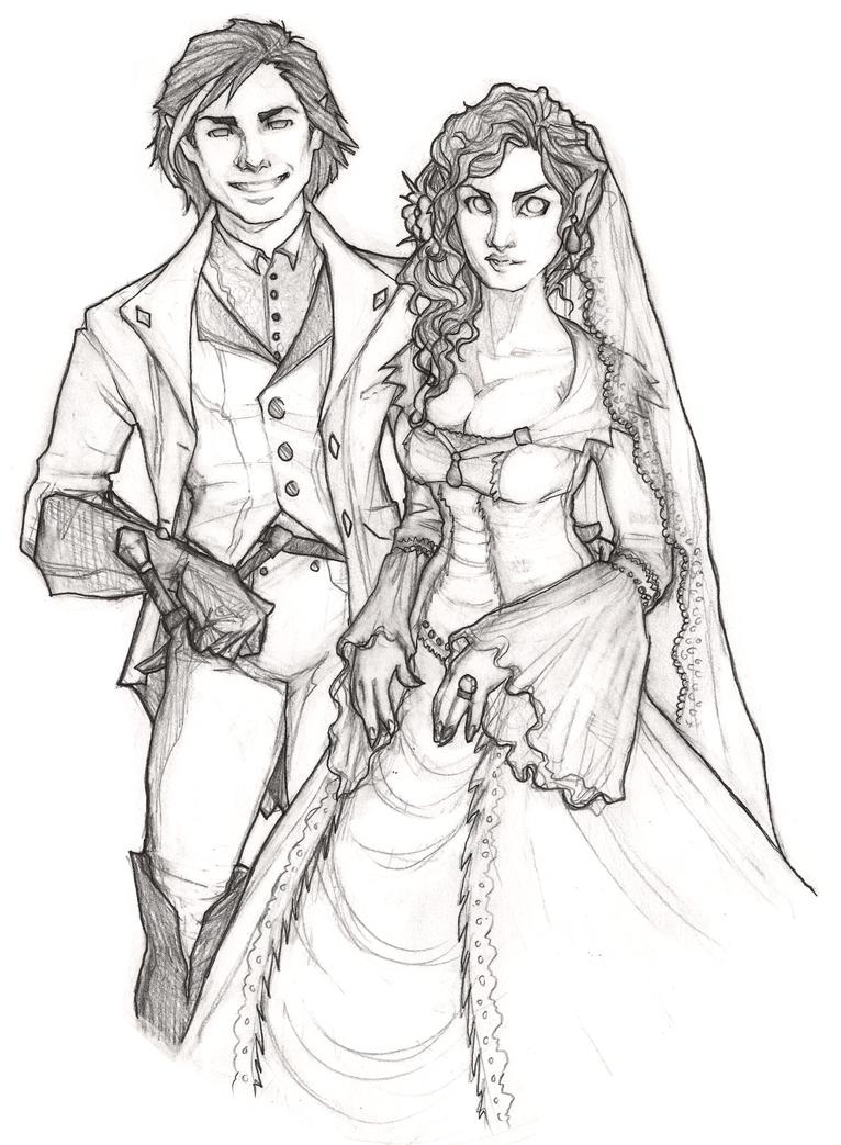 Line Drawing Wedding Couple : Prettiest wedding couple b w by bunnystick on deviantart