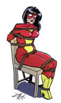 Spider Woman tied