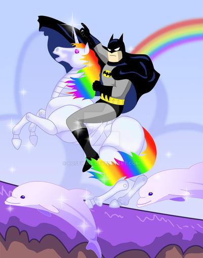 Robot unicorn rider, Batman by Rosewine