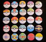 All 25 pokeballs as pins