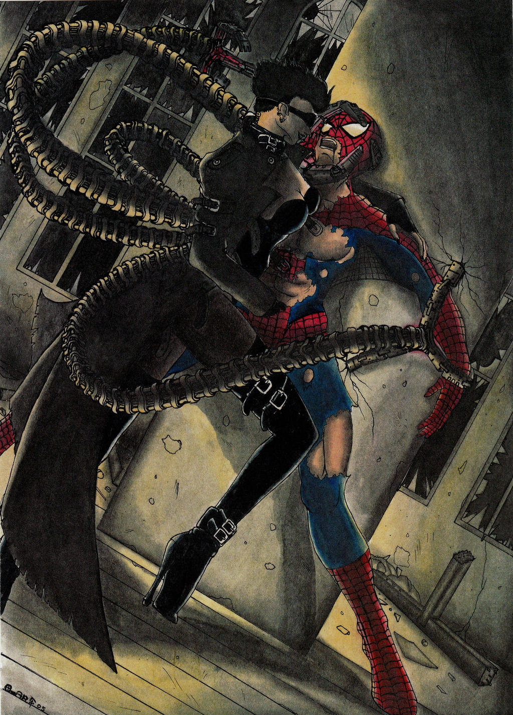 spiderman vs lady dr octopus by ghstkatt on deviantart