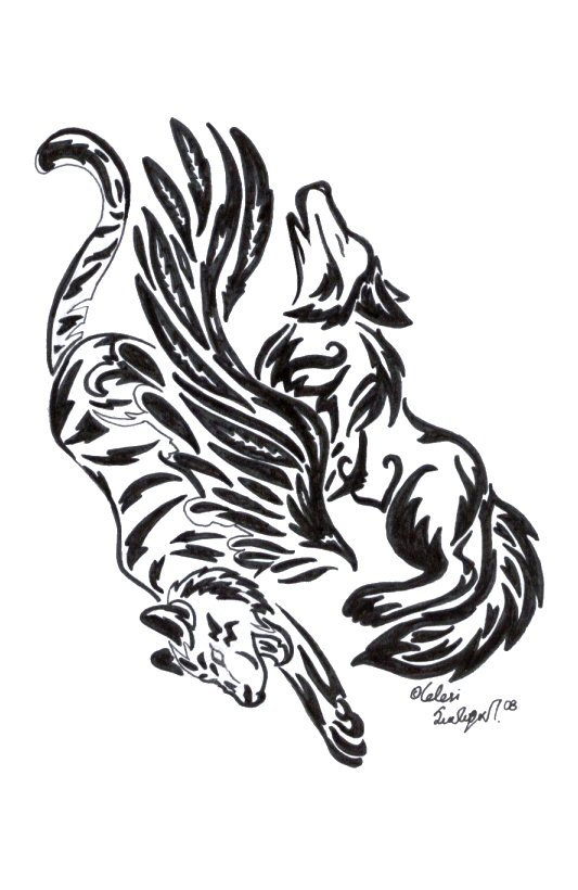 Tribal wolf tiger by celesime on deviantart for Tribal tattoo shops near me